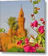 Flowers And Mosque Metal Print by George Paris