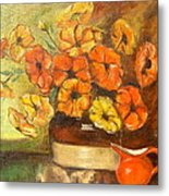 Flowers And Red Pitcher Metal Print