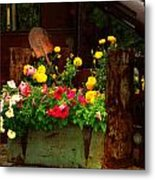 Flowers And Shovel On An Old Drill Truck Metal Print