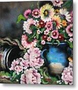 Flowers And Vase Metal Print