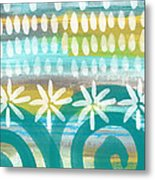 Flowers And Waves- Abstract Pattern Painting Metal Print
