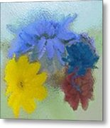 Flowers Behind Glass Metal Print