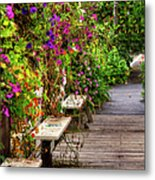 Flowers By A Bench  Metal Print