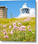 Flowers By Lighthouse Metal Print