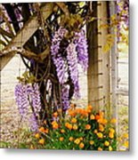 Flowers By The Gate Metal Print