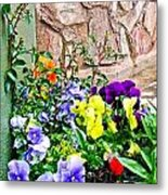 Flowers By The Wall Metal Print