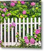 Flowers - Floral - White Picket Fence Metal Print