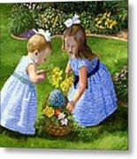 Flowers For Mama With Girls Garden Basket Bouquet Metal Print by Alice Leggett