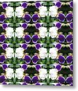 Flowers From Cherryhill Nj America White  Purple Combination Graphically Enhanced Innovative Pattern Metal Print