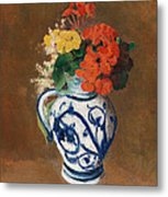 Flowers In A Blue Vase Metal Print by Odilon Redon