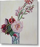 Flowers In A Crystal Vase Metal Print