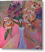 Flowers In A Lavender Vase Metal Print