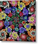 Flowers In A Spiral Metal Print