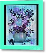 Flowers In A Vase With Blue Border Metal Print