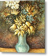 Flowers In Blue Vase - Still Life Oil Metal Print