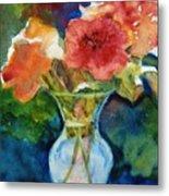 Flowers In Glass Vase Metal Print