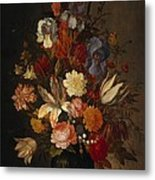 Flowers In Glass Vase With Shells C1625 Metal Print