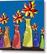 Flowers In Glass Vases Metal Print