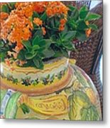 Flowers In Ornate Vase Metal Print