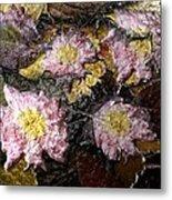 Flowers In Pool Of Autumn Leaves Metal Print