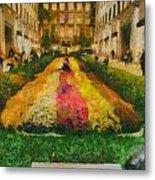 Flowers In Rockefeller Plaza Metal Print