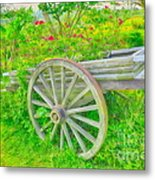 Flowers In A Wagon Metal Print