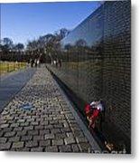 Flowers Left At The Vietnam War Memorial Metal Print