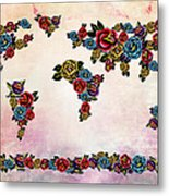 Flowers Map  Metal Print