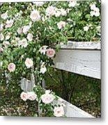 Flowers On Fence Metal Print