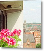 Flowers On The Balcony Metal Print