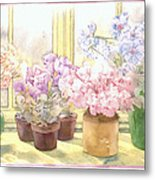 Flowers On The Windowsill Metal Print by Julia Rowntree
