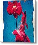 Flowers On Watercolor Paper Metal Print