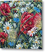 Flowers Poppies And Daisies No.5 Metal Print by Drinka Mercep