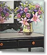 Flowers Table And Mirror In The Foyer Still Life Metal Print