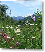 Flowers View Of The Mountains Metal Print