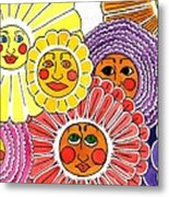 Flowers With Faces Metal Print