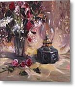 Flowers With Lantern Metal Print