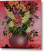 Flowers With Red Background Metal Print