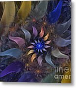 Flowery Fractal Composition With Stardust Metal Print