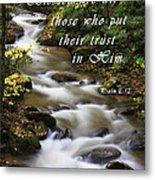Flowing Creek With Scripture Metal Print