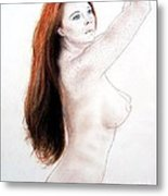 Flowing Long Red Hair And Freckles Metal Print