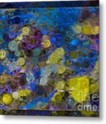 Flowing River Water And Rocks Colorful Abstract Painting Metal Print