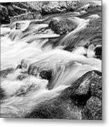 Flowing St Vrain Creek Black And White Metal Print