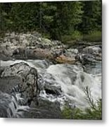 Flowing Stream With Waterfall In Vermont Metal Print