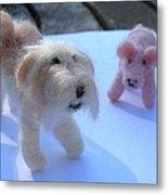 Fluffums - Lhasa Apso Tibetan Terrier And Piglet Metal Print