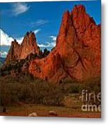 Fluffy Clouds Over Jagged Peaks Metal Print