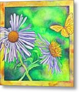 Flutters And Flowers Metal Print