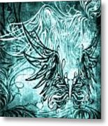 Fly Away Gothic Aqua Metal Print