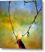 Fly Catcher In Heart Shaped Branch Metal Print