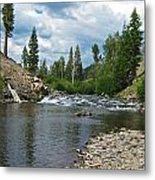 Fly Fishing Above Rainbow Falls Metal Print
